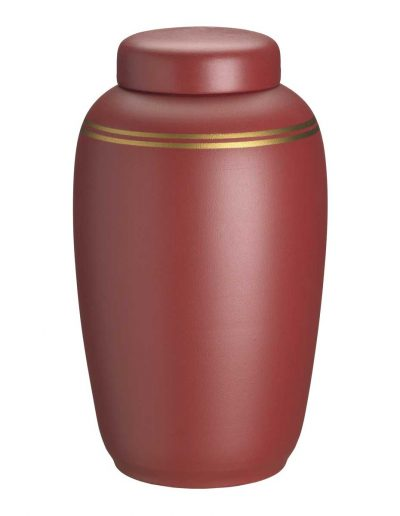 Rød urne med guldkant